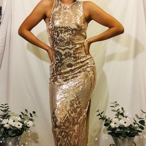 Papaya gold/champagne sparkle dress